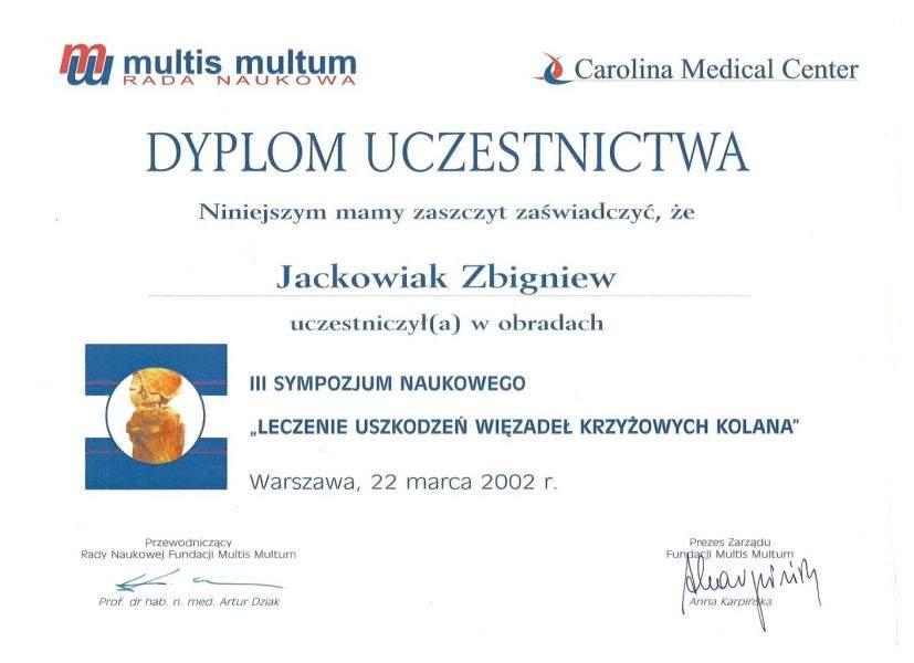 Halluxmed: Certyfikat Zbigniew Jackowiak