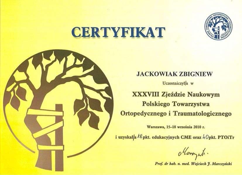 Haluksy: Certyfikat Zbigniew Jackowiak
